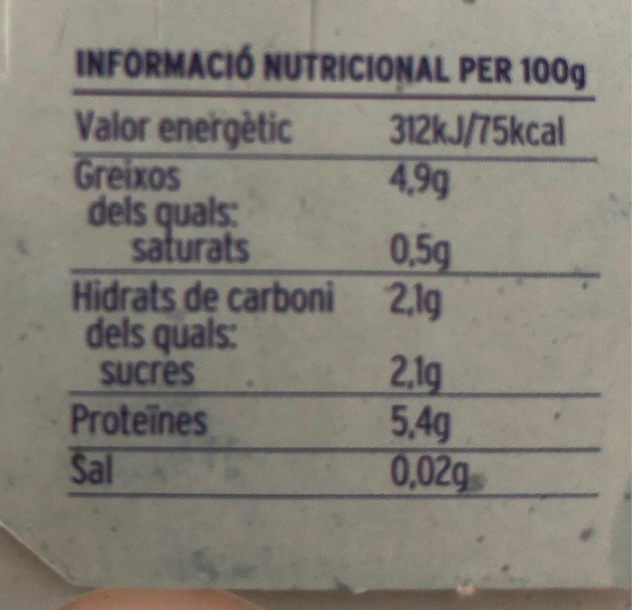 Iogurt ecológico natural de cabra - Información nutricional