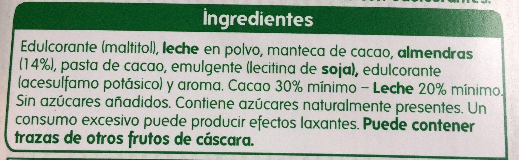 Chocolate con leche y almendras (sin azucares añadido) - Ingredients