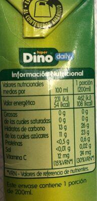 Zumo de piña, uva y manzana - Información nutricional - es