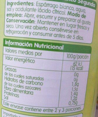 Tarros de espárragos blancos de segunda - Informations nutritionnelles - es