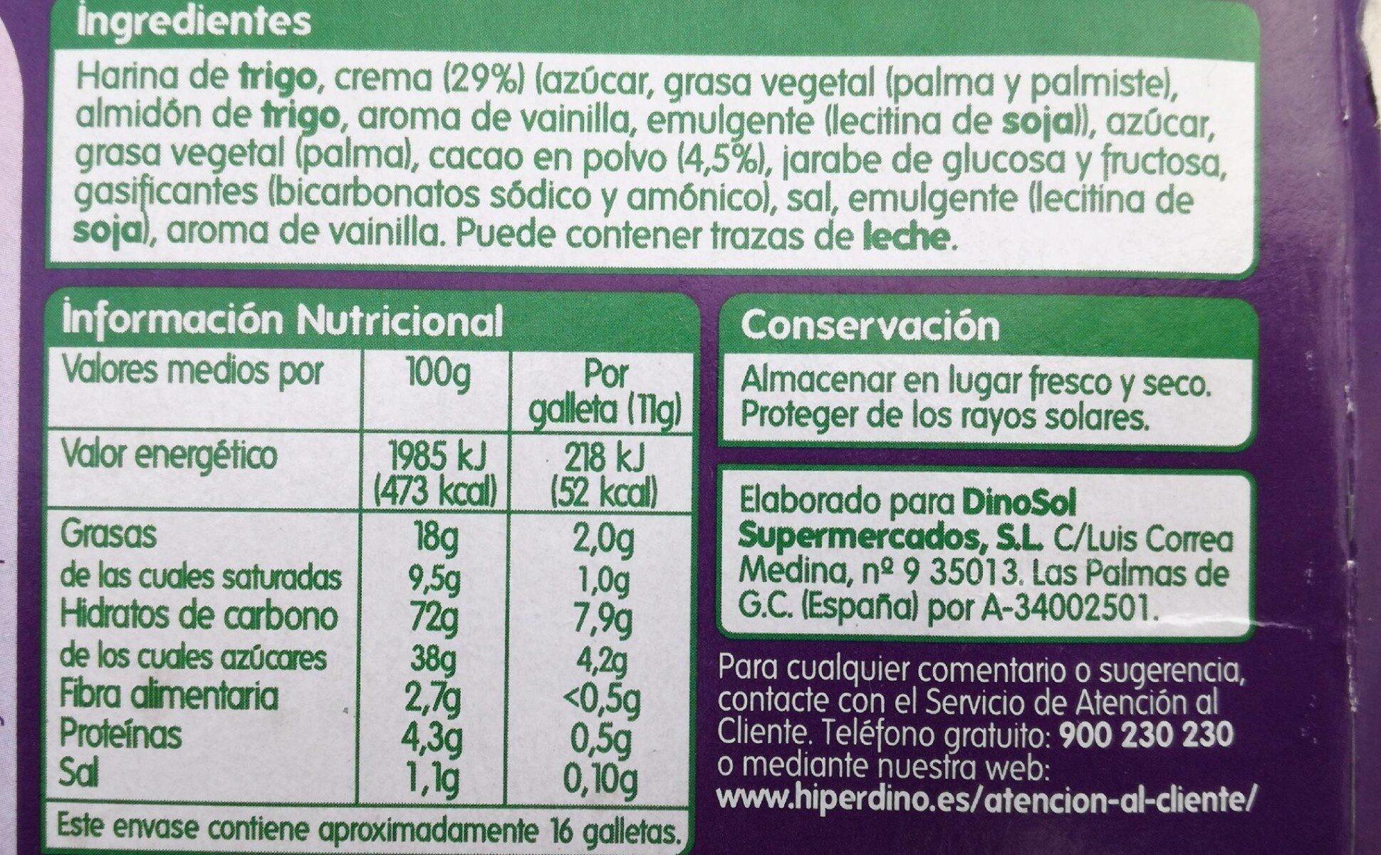 Galletas al cacao rellena crema - Nutrition facts