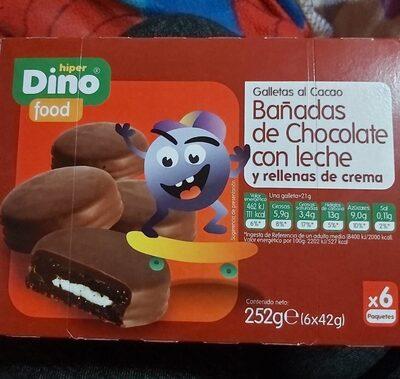 Galletas al cacao bañadas de chocolate con leche
