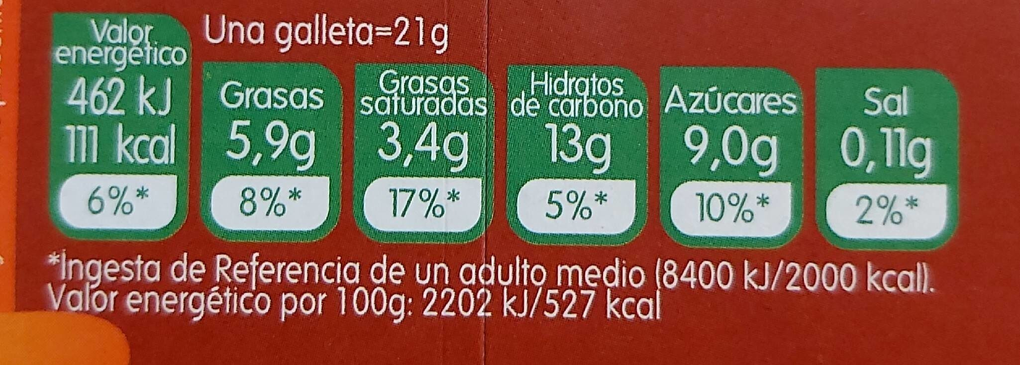 Galletas al cacao bañadas de chocolate con leche - Nutrition facts