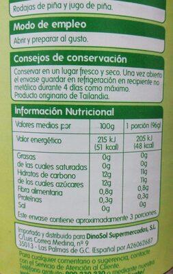 Piñas Rodajas en su jugo - Nutrition facts