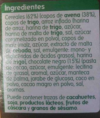 Muesli crujiente con chocolate negro - Ingredients - es