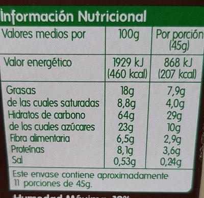 Muesli crujiente con chocolate negro - Nutrition facts - es