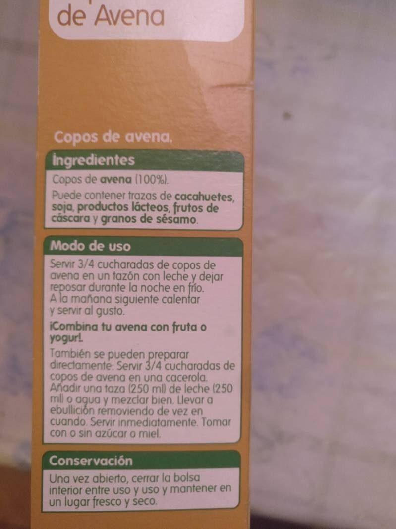 Copos de avena - Ingredientes