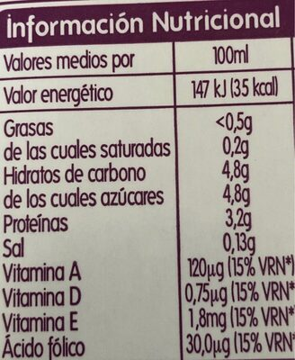 Leche sin lactosa desnatada - Información nutricional