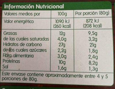 Pizza jamón y queso - Informació nutricional - es