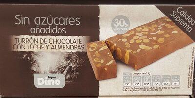 Turrón de chocolate con leche y almendras edulcorado