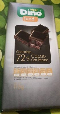 Chocolate 72% Cacao con Pepitas - Produit - es