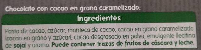 Chocolate 72% Cacao con Pepitas - Ingrédients - es