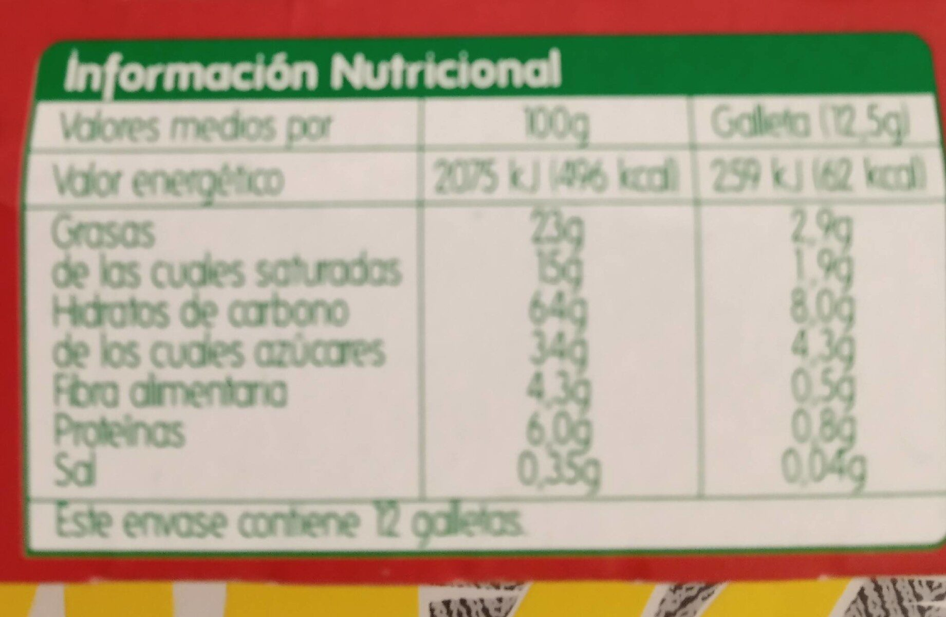 Galletas chocolate negro - Nutrition facts - es