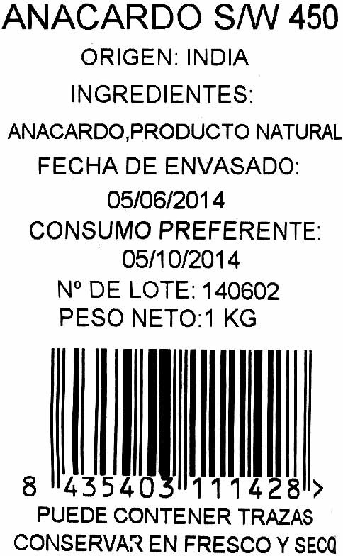 Anacardos crudos - Ingredients