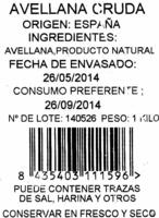 Avellana cruda - Ingredients - es