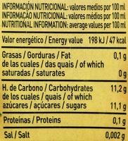 Zumo de manzanas y mangos exprimidos - Información nutricional