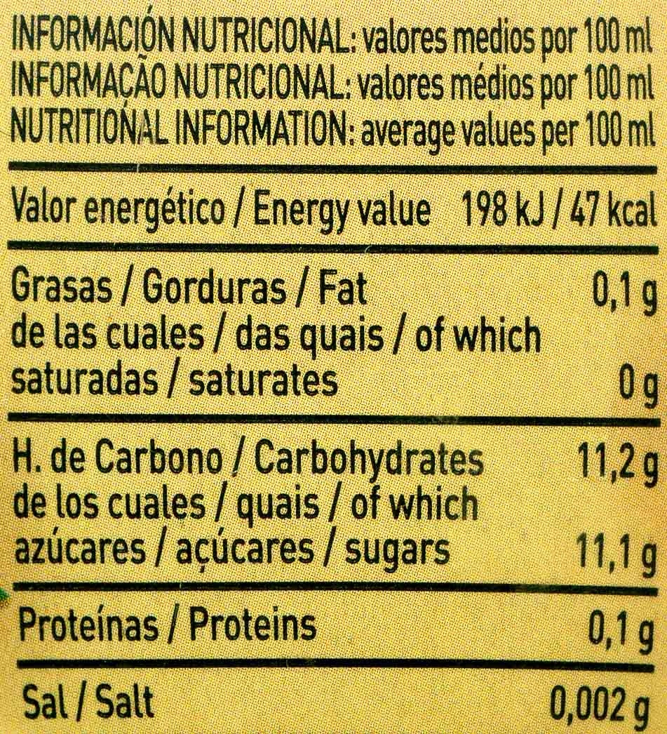 Zumo de manzanas y mangos exprimidos - Informació nutricional