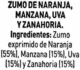 Bebida de zumo de naranja,zanahoria,manzana y - Ingredients