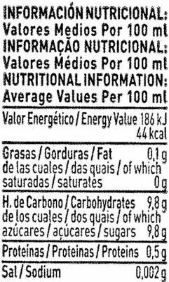 Bebida de zumo de naranja,zanahoria,manzana y - Informació nutricional