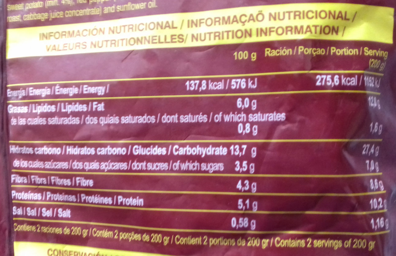 Salteado de quinoa - Informations nutritionnelles