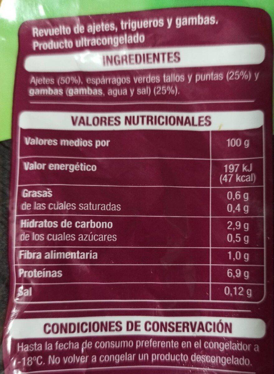 Revuelto de ajetes, trigueros y gambas verduras seleccionadas - Valori nutrizionali - es