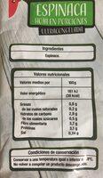 Espinacas en porciones - Información nutricional