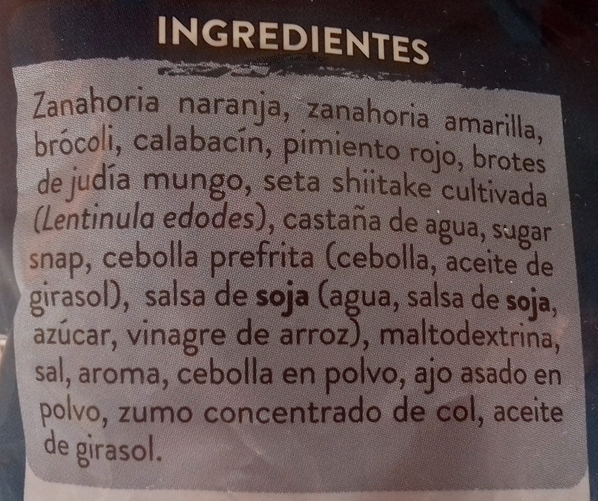 Wok de verduras asiático - Ingredients