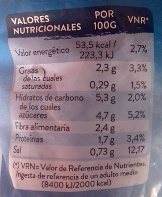 Wok de verduras asiático - Informació nutricional