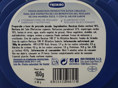 Marinera Bacalao & merluza con espárragos - Nutrition facts