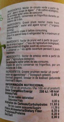 Zumo - Nutrition facts - es