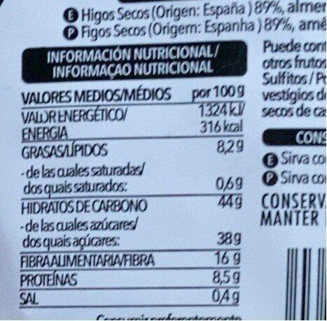 Pan de higo con almendras - Información nutricional - es