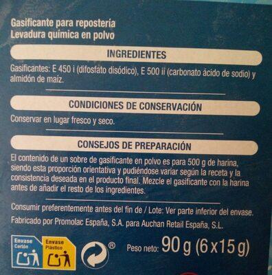 Levadura en polvo - Información nutricional - es