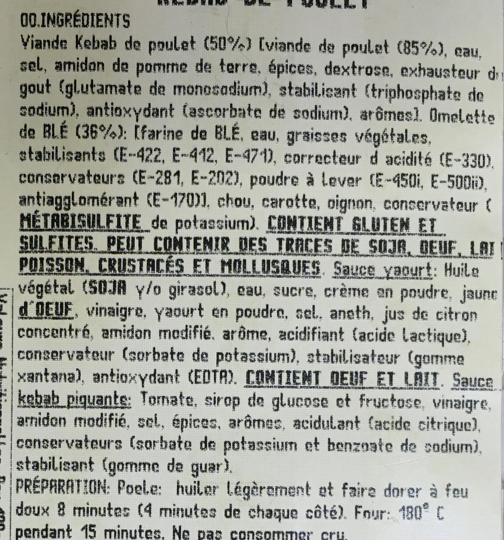 Kebab de Poulet - Ingrédients - fr