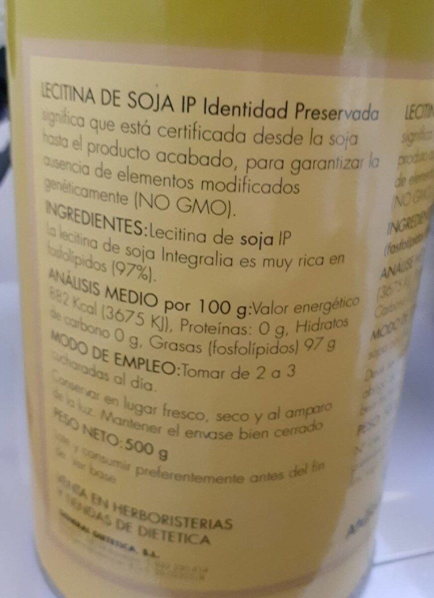 Lecitina de soja - Nutrition facts - es