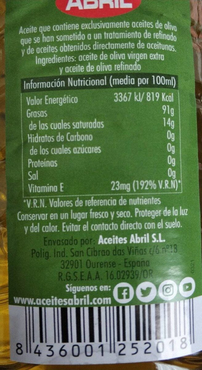 Aceite de oliva intenso 1º - Nutrition facts - fr
