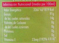 Aceite de oliva suave - Información nutricional