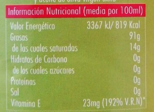 Aceite de oliva suave 0,4º - Voedingswaarden