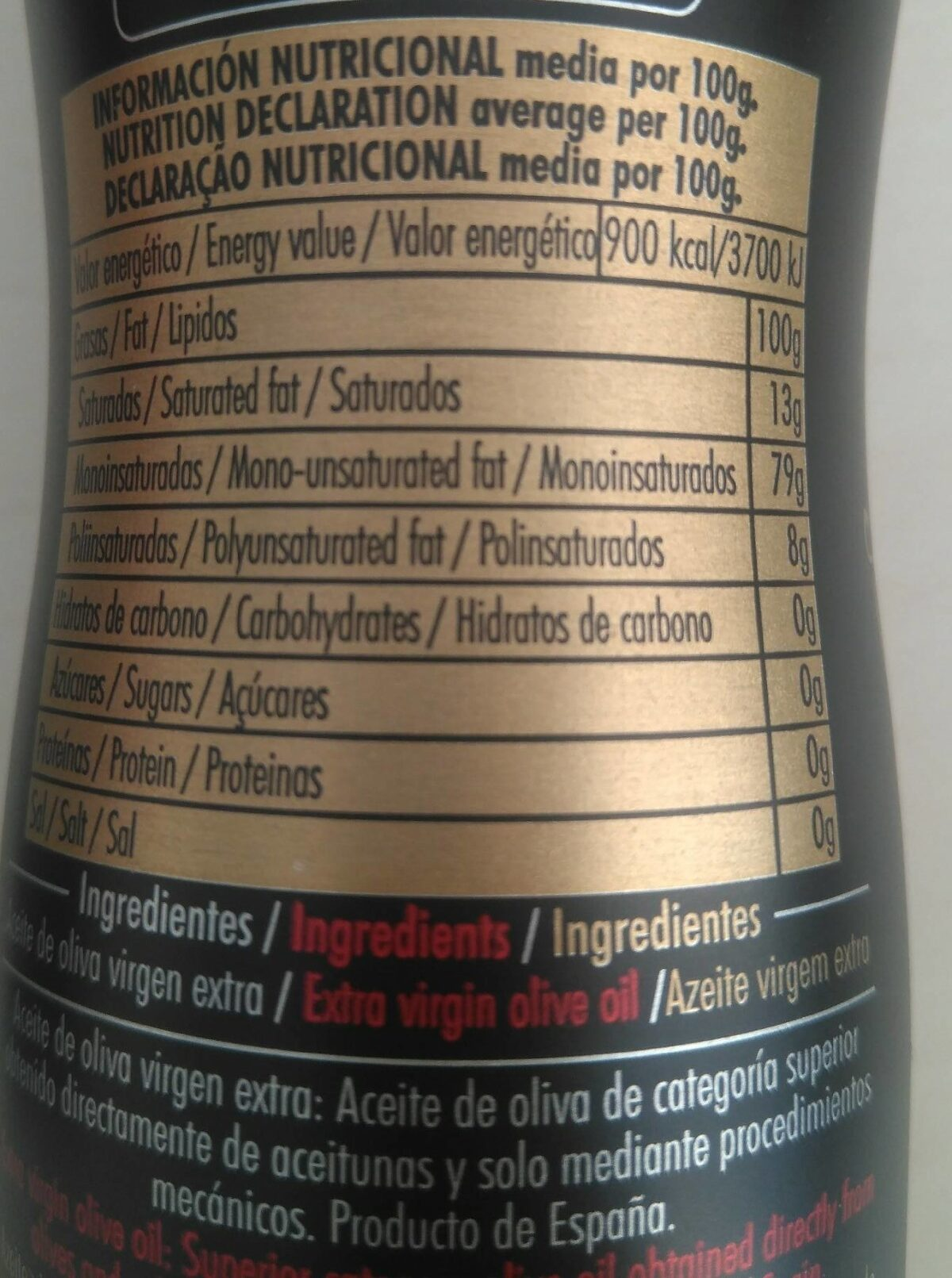 Abril Extra Virgin Olive Oil - Nutrition facts