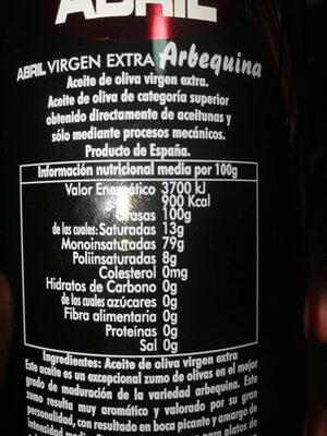 Aceite de oliva virgen extra arbequina - Nutrition facts - es