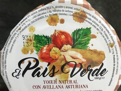 Yogur Natural con avellana Asturiana - Informació nutricional - es