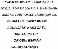 "Aguacates ""Reyes Gutiérrez"" - Ingredients"