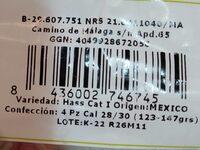 Aguacates - Informations nutritionnelles - es