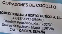 Corazones de cogollos de lechuga - Información nutricional - es