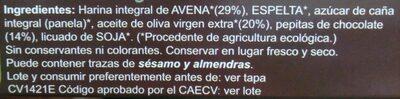 Galletas integrales Avena y Chocolate - Ingredients - es