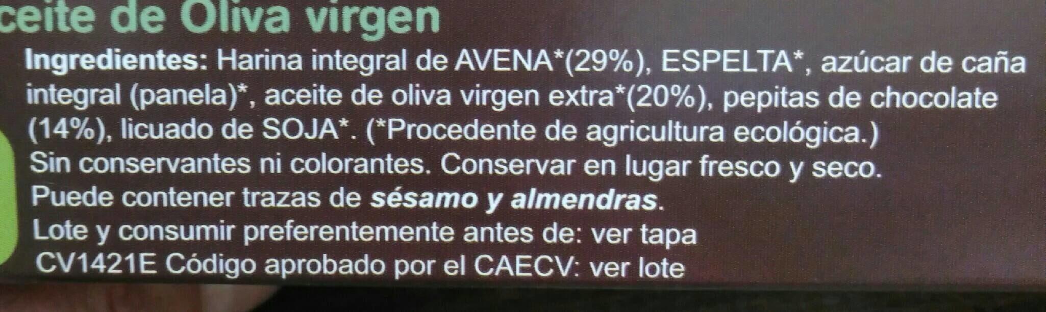 Galletas integrales Avena y Chocolate - Nutrition facts - es