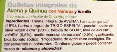 Galletas integrales de avena y quinua con naranja y vainilla - Ingredients - es