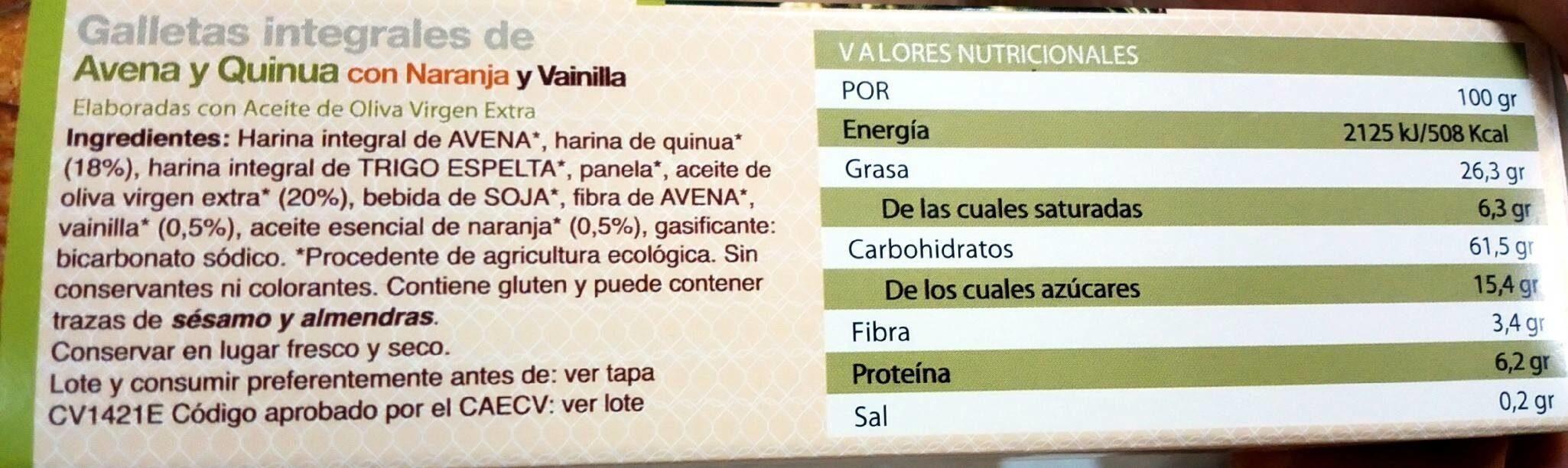 Galletas integrales de avena y quinua con naranja y vainilla - Nutrition facts - es