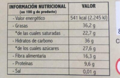 Chocolates negro - Nutrition facts - es