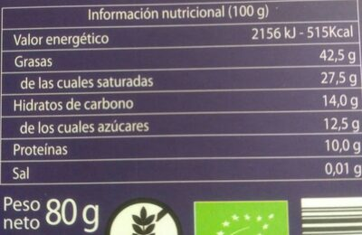 Chocolate negro - Nutrition facts - es