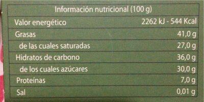 Chocolate negro ecologico - Nutrition facts - es
